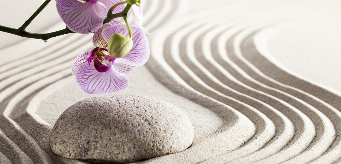 Zen lilac orchid flowers with green stems on rippling sand