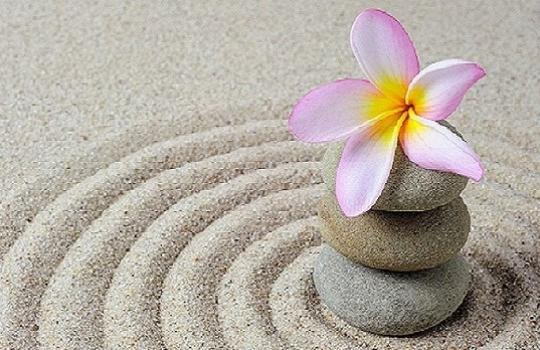 Zen flower on rippling sand